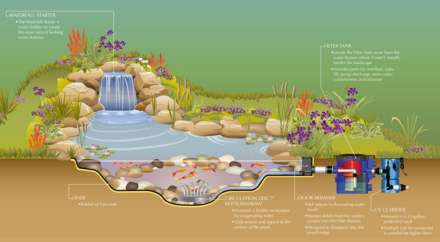Best koi pond filter system best free engine image for for Pond filtration system diagram